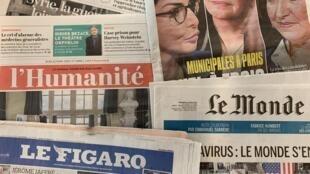 Primeiras páginas dos jornais franceses 12-03