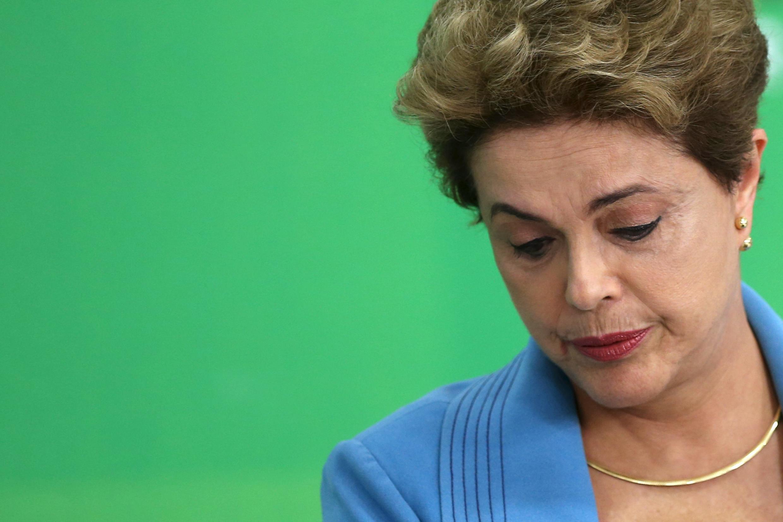 La présidente brésilienne Dilma Rousseff, lors de la conférence de presse à Brasilia, le 18 avril 2016.