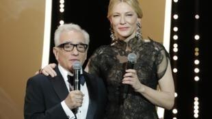 Martin Scorsese et Cate Blanchett en la gala inaugural en Cannes.