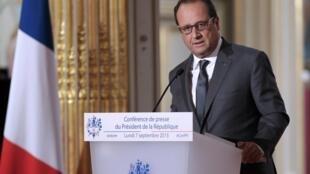 El presidente François Hollande, el 7 de septiembre de 2015 en París.