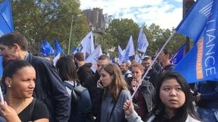 Police take to the streets of Paris to protest about working conditions.