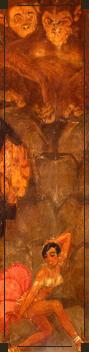 靠墙的一根柱子上画的是20年代红得发紫的的歌舞星贝壳(Joséphine Baker)。
