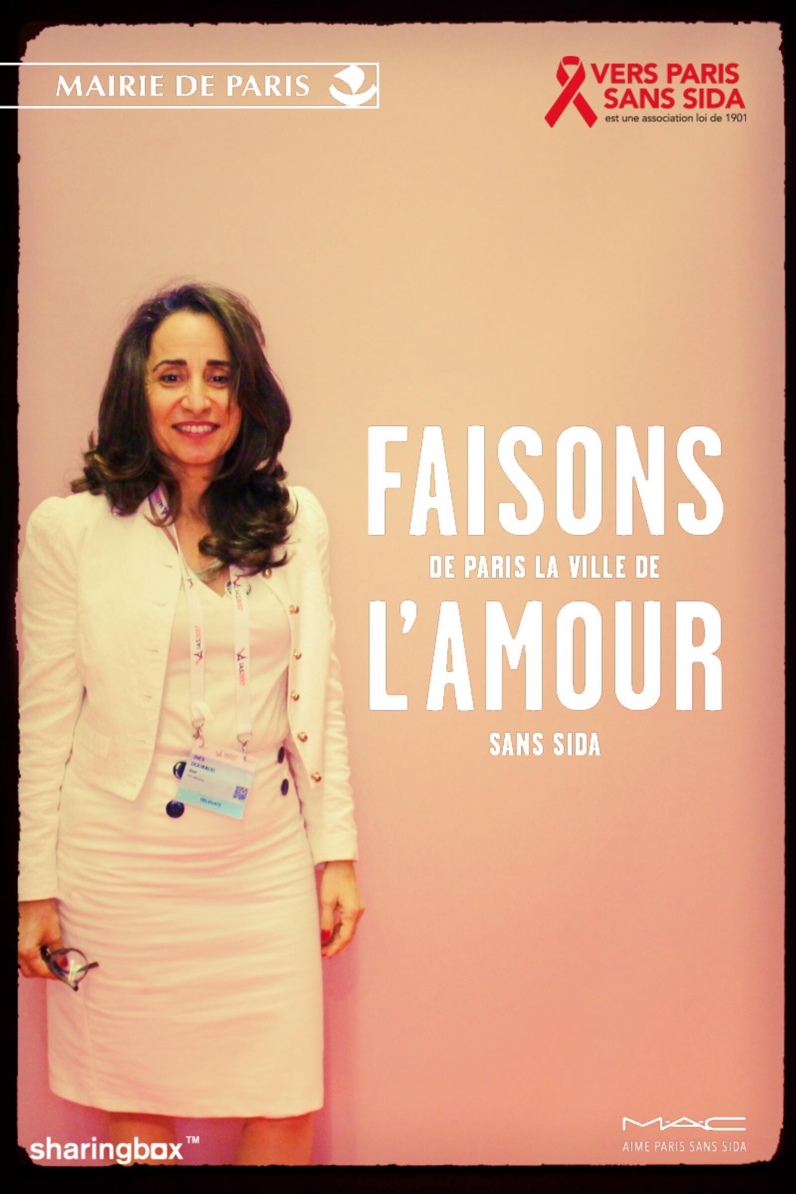 A médica brasileira Inês Dourado na campanha parisiense de prevenção contra a Aids.