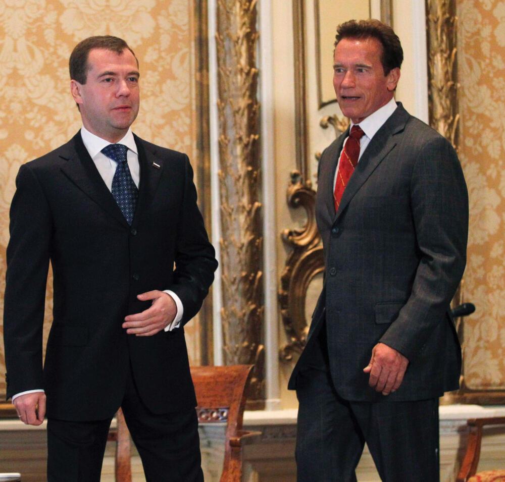 Российский президент Дмитрий Медведев встретился с губернатором Калифорнии Арнольдом Шварцнегером