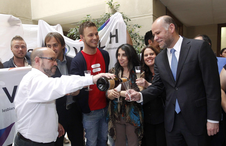 Activistas de organizaciones de defensa de la diversidad sexual en Chile celebran junto al ministro vocero de gobierno, Alvaro Elizalde, y algunos diputados,  la aprobación de la ley de unión civil para parejas homosexuales.