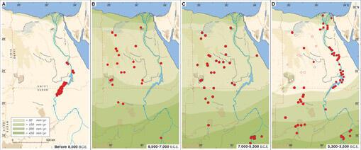 L'occupation humaine du Sahara occidental en fonction du climat à l'holocène (article «Climate-Controlled Holocene Occupation in the Sahara : Motor of Africa's Evolution», Rudolph Kuper)