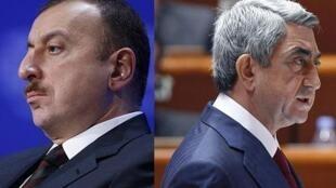 Le président de l'Azerbaïdjan Ilham Aliev et son homolgue arménien Serge Sarkissian.