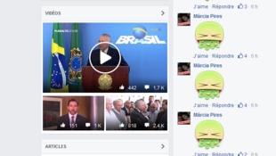 Les commentaires de l'un des derniers «posts» disponibles sur la page Facebook du palais présidentiel brésilien donnent à voir ce qu'est devenu le phénomène Vomitaço.