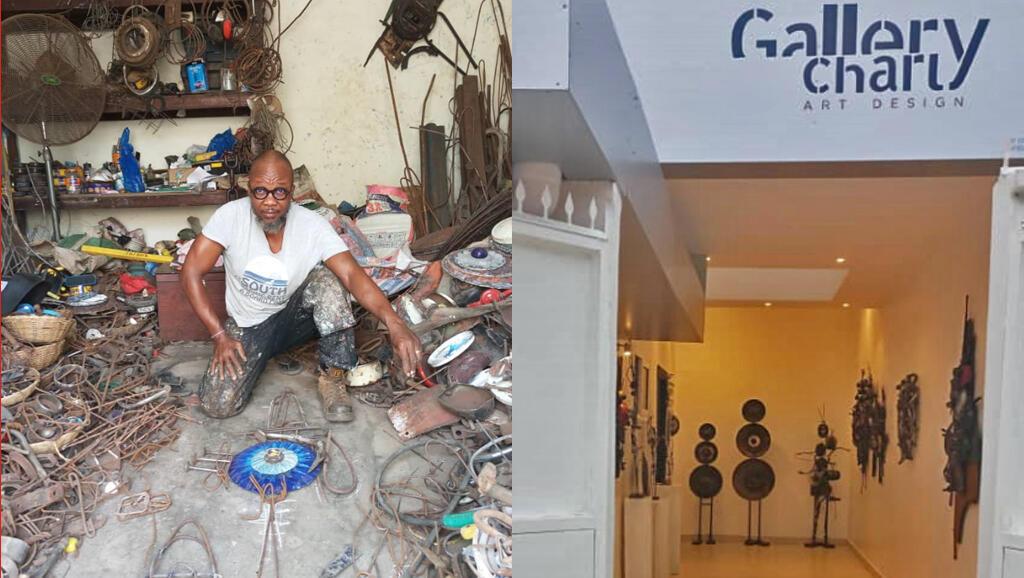 Charly d'Almeida trouve la matière première de ses sculptures dans les rues de Cotonou ou dans les décharges. Il expose ensuite ses créations à droite dans sa galerie située dans un quartier de la capitale.