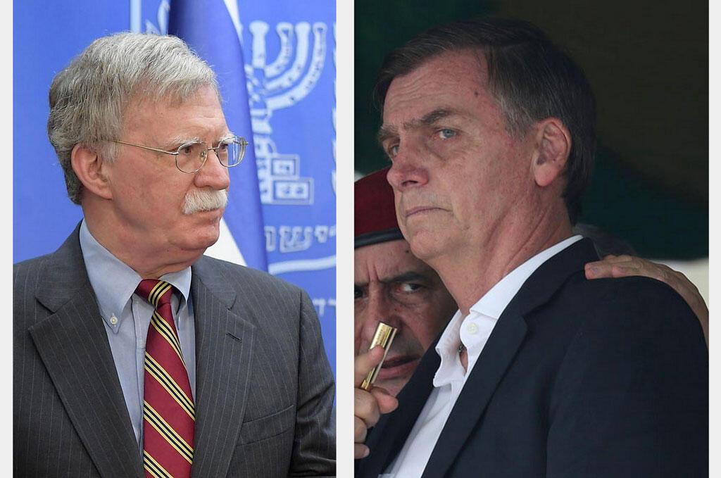 Fotomontagem com o conselheiro de segurança nacional dos EUA, John Bolton, e Jair Bolsonaro.