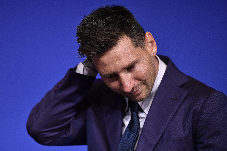 Lionel Messi lokacin da yake ganawa da manema labarai yau