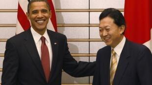 Le président américain, Barack Obama (G), a rencontré le Premier ministre japonais, Yukio Hatoyama  (D), ce 13 novembre 2009 à Tokyo.