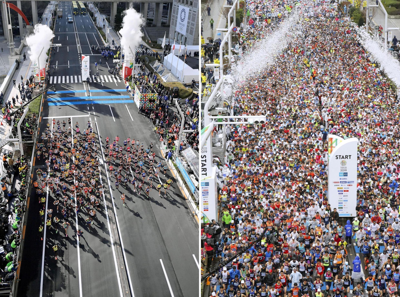 Số lượng người tham gia Giải chạy việt dã Tokyo Marathon ngày 01/03/2020 (T) giảm hẳn vì dịch Covid-19 so với năm 2019 (P).