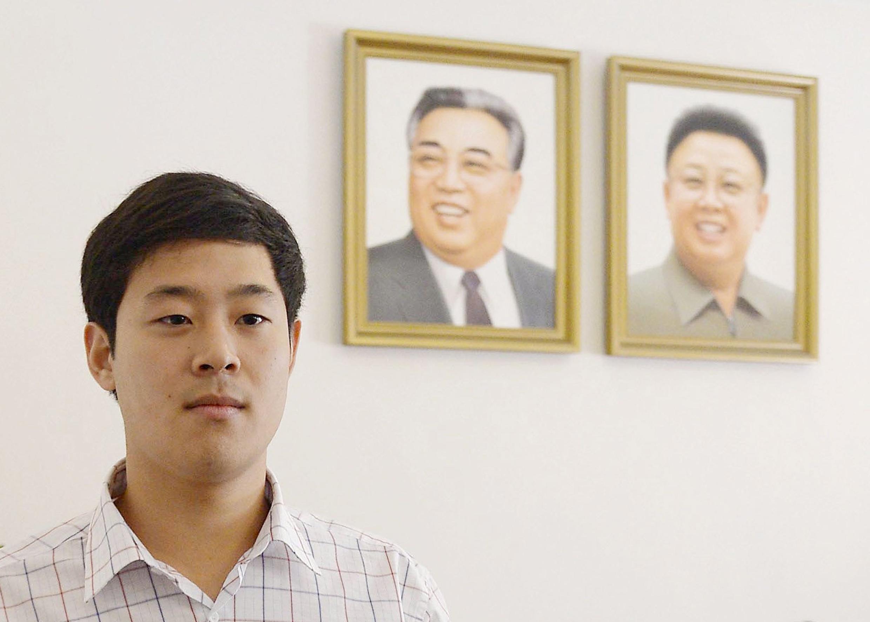 Joo Won-moon, công dân Hàn Quốc sống tại Mỹ bị bắt tại Bắc Triều Tiên xuất hiện trong cuộc họp báo hôm 25/09/2015 tại Bình Nhưỡng.