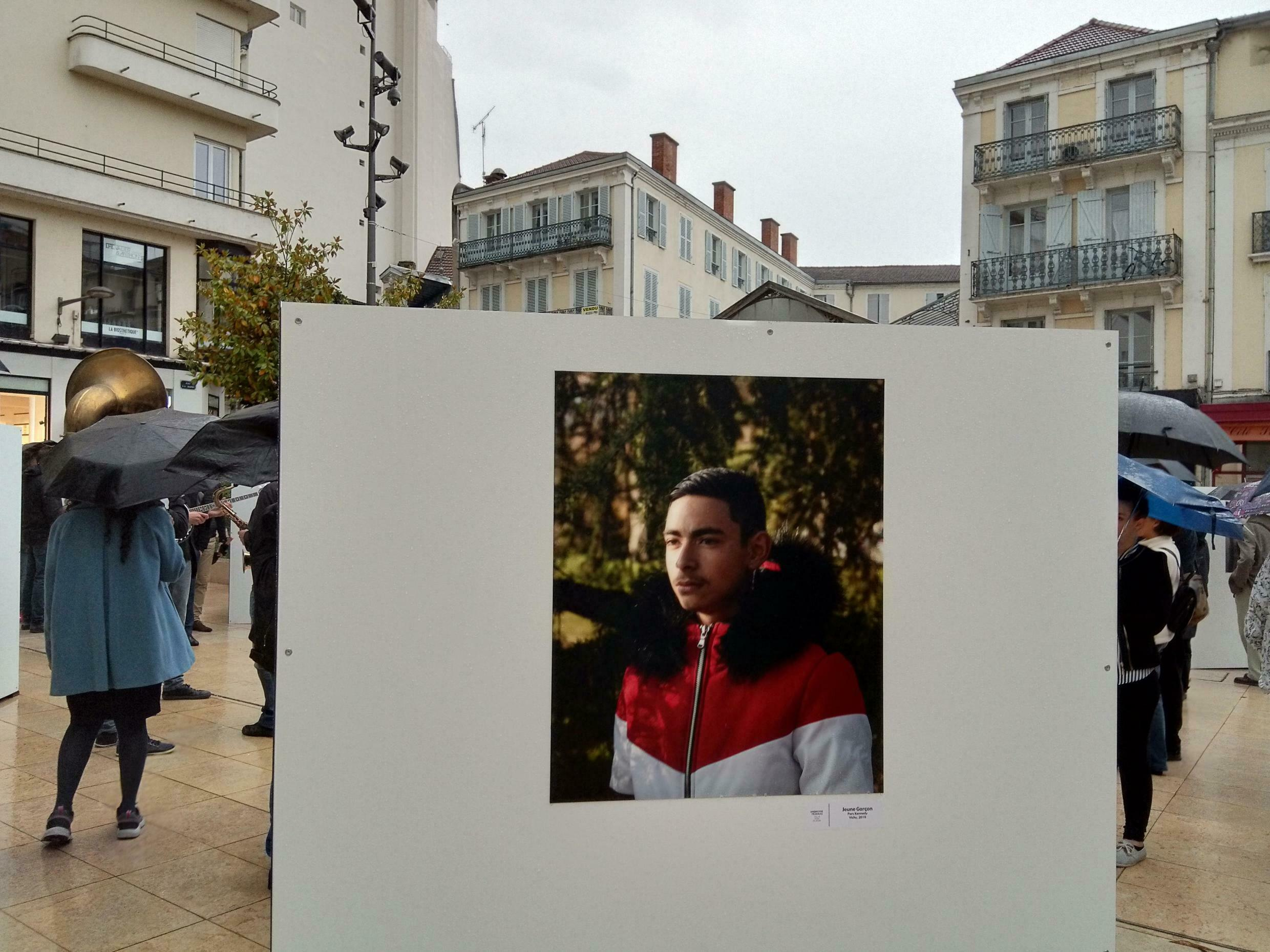 Portrait of a young man from Vichy in Ambroise Tézenas' exhibition in the Portrait(s) Festival, June 2019, Vichy, France