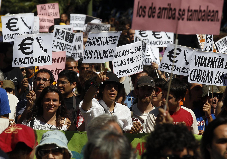 """""""Возмущенные"""" испанцы на улицах Мадрида, 19/06/2011"""