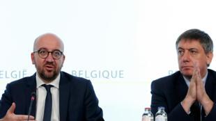 شارل میشل، نخست وزیر بلژیک در کنفرانس خبری روز شنبه ۱۸ ژوئن ۲۰۱۶.