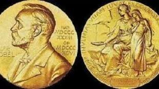 圖為諾貝爾文學獎金質獎章