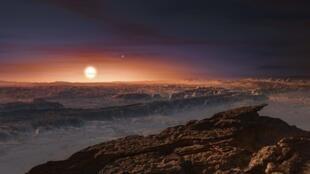 Vista de la superficie del planeta Próxima b en torno a la órbita de la estrella Próxima Centauri.