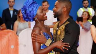 Lupita Nyong'o et David Oyelow, les acteurs du film «Queen of Katwe, lors du Festival international de Toronto au Canada, le 10 septembre 2016.