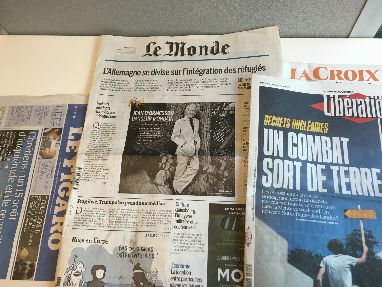 Primeiras páginas dos diários franceses 15/08/2016