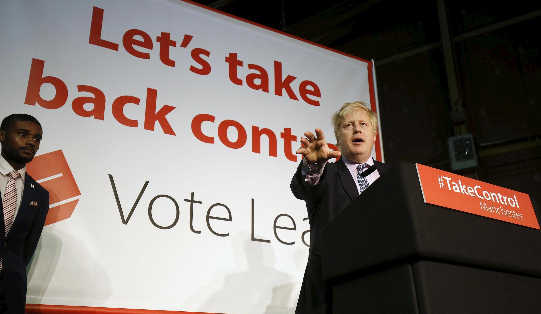"""Đô trưởng Luân Đôn Boris Johnson vận động cho """"Brexit""""."""