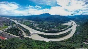 2018年7月27日,雨过天晴之后,从空中俯瞰都江堰水利工程