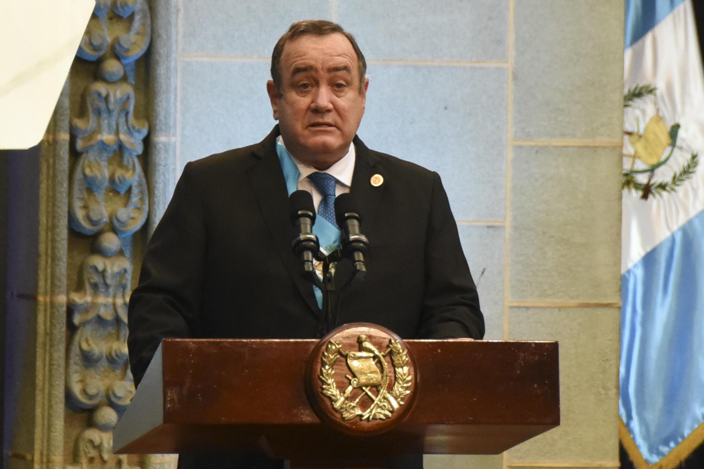 El presidente de Guatemala Alejandro Giammattei el 14 de enero de 2021