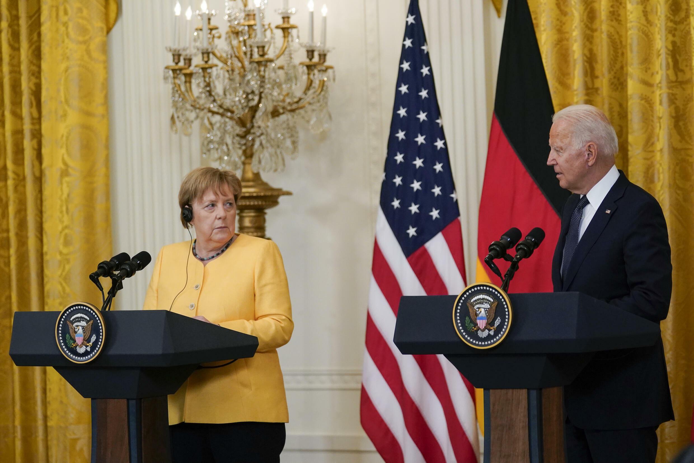 默克尔与拜登,7月15日,摄于白宫