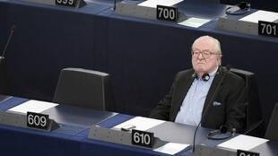 In this file photo taken on May 19, 2015, French European Parliament member and French far-right Front National (FN) party honorary president Jean-Marie Le Pen takes part in a voting session at the European Parliament.