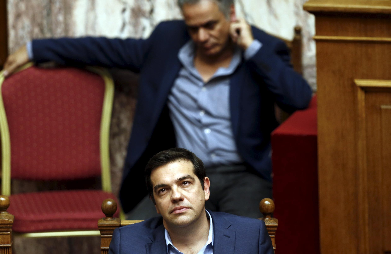 Премьер-министр Греции Алексис Ципрас в парламенте при голосовании за второй пакет реформ, требуемых кредиторами, 23 июля 2015 г.