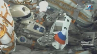 A still image, taken from a video footage and released by Russian space agency Roscosmos, shows Fedor the robot inside the Russian Soyuz MS-14 spacecraft carried by Soyuz-2.1a booster after the launch from the Baikonur Cosmodrome, Kazakhstan August, 2019