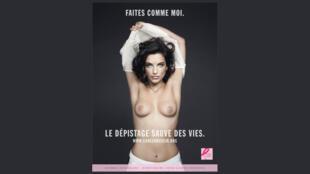 """""""Faça como eu, o exame salva vidas"""" é a mensagem da campanha da ONG francesa Cancer du Sein, Parlons-en."""
