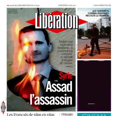 """Manchete do jornal francês Libération: """"Assad o assassino"""""""