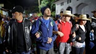 Một bộ phận trong đoàn người di dân tại Tecun Uman, Guatemala, gần biên giới với Mêhicô, ngày 20/01/2020