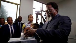 Rais Joseph Kabila akipiga kura Mjini Kinshasa leo Disemba 28 mwaka 2018