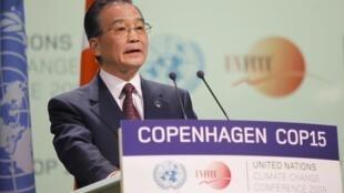 Le Premier ministre chinois, Wen Jiabao, au sommet de Copenhague sur le climat, le 18 décembre 2009.