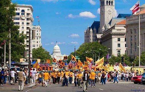 Một cuộc biểu tình vì Việt Nam tại Washington, ngày 06/07/2014. Ảnh trang Facebook Triệu con tim một tiếng nói