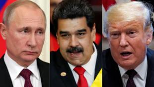 俄罗斯、委内瑞拉、美国三国领导人资料图片