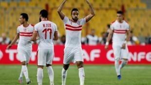 Wachezaji wa timu ya Zamalek ya Misri wakishangilia ushindi hivi karibuni, 2019.