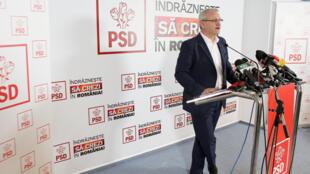 Le leader des sociaux-démocrates Liviu Dragnea, lors d'une conférence de presse après les élections législatives du 11 décembre 2016.