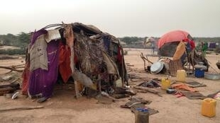 One of the makeshift huts the internally displaced pastoralists live in on the outskirts of Gargara