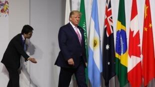 Le président américain Donald Trump au G20 d'Osaka le 28 juin 2019. L'homme a déclaré être au G20, avant tout, pour conclure des accords favorables aux Etats-Unis.