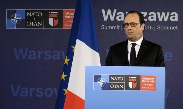 Rais wa Ufaransa Francois Hollande akizungumza wakati wa mkutano wa kilele wa NATO, July 9, 2016.