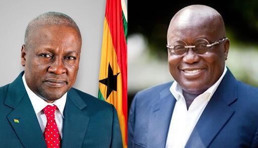 John Dramani Mahama tsohon Shugaban kasar Ghana tareda Nana Akoufo Addo da ya lashe zaben kasar Ghana