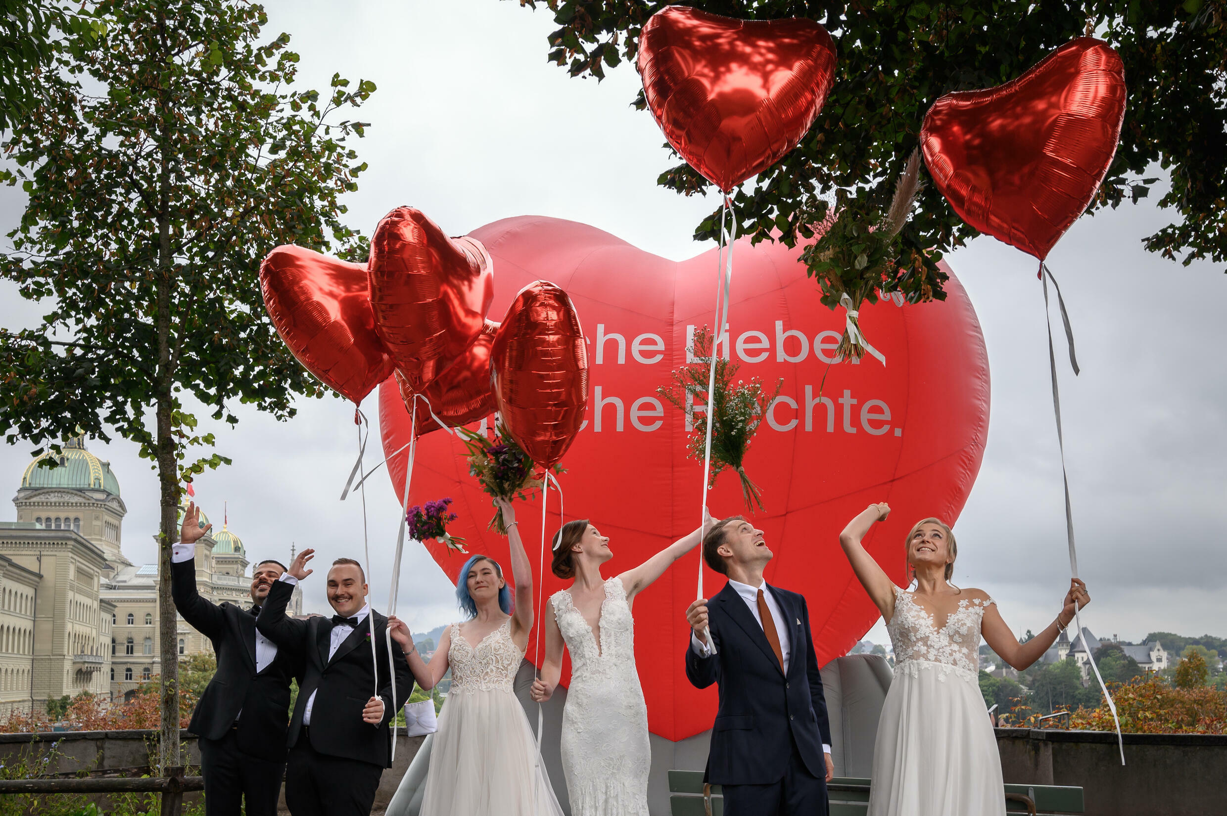 Swiss celebrate after voters approved same-sex marriage in a referendum