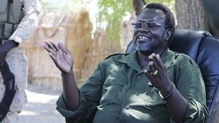 Opposition leader Riek Machar speaking from an undisclosed location in South Sudan, 29 April 2014.