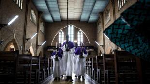 L'intérieur de l'église Notre-Dame de Kinshasa, en RDC, le 7 septembre 2017.
