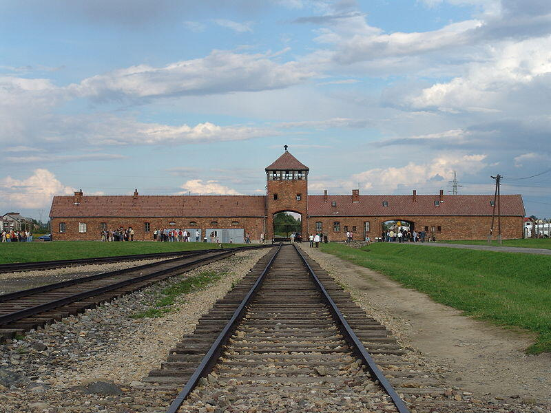 The entrance to the Birkenau concentration camp