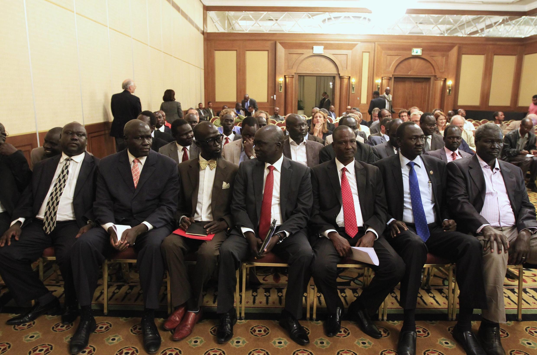 A delegação de rebeldes sul-sudaneses na cerimónia de abertura dasnegociações em Addis-Abeba, a 4 de Janeiro de 2014.
